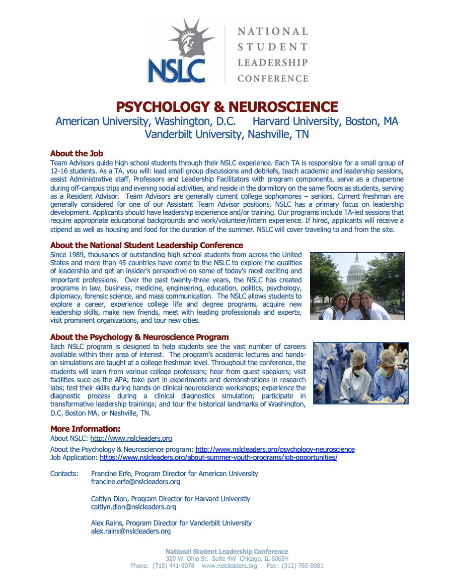 Team Advisor (TA) and Assistant Team Advisor (ATA) Positions @ National  Student Leadership Conference (NSLC) - American University.   Duke  Psychology & Neuroscience