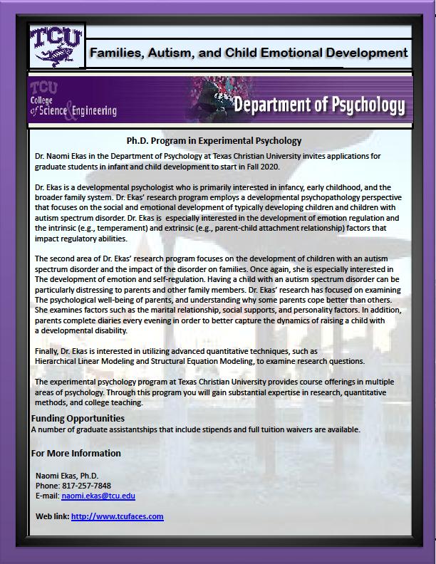 Tcu Graduation 2020.Phd Program Experimental Psychology Texas Christian
